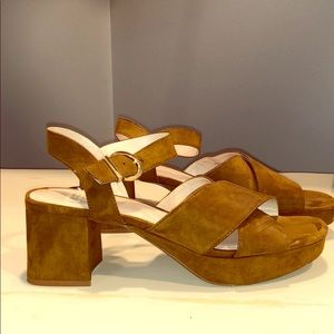Zara caramel suede sandal heels w/ strap
